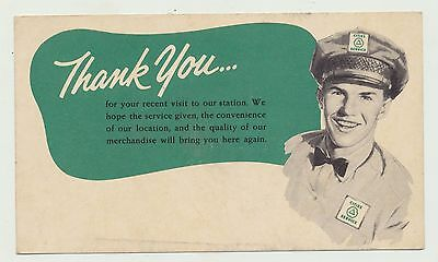 1950's Cities Service Oil Co Service Station Thank You Card Formal Hat & Uniform