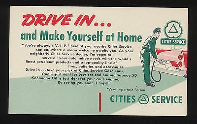 1950s Cities Service VIP customer care mailing card Full Service Attendant/Logo