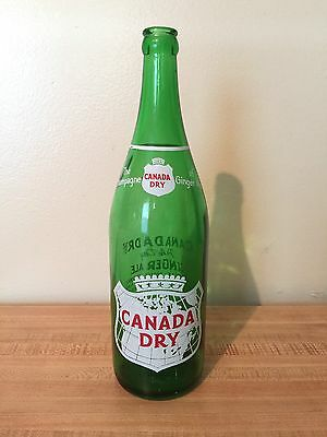 Vintage Green ACL Bottle Canada Dry Ginger Ale Pint Mansfield Ohio OH