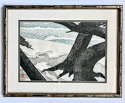 A Vintage Framed Japanese Signed Woodblock Print By Masaharu Aoyama