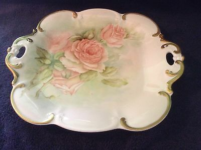 Antique Tirschenreuth Germany Open Handled Handpainted Porcelain Serving Tray