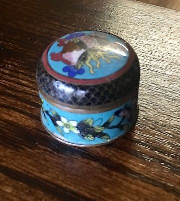Antique Chinese Cloisonne Enamel Opium Box Artist Signed and Marked