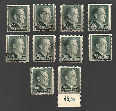 WWII Occupied Poland - Lot of 10 Stamps 1 Zloty with Hitler's Head - #18