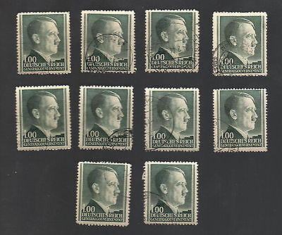 WWII Occupied Poland - Lot of 10 Stamps 1 Zloty with Hitler's Head - #20