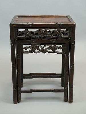 Chinese Huanghuali Wood Carved Small Nested Tables