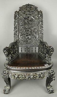 Intricately Carved 18th Century Chinese Zitan Chair