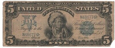 "1899 $5.00 ""scarce -Chief""- Silver Certificate , About Good Condition"