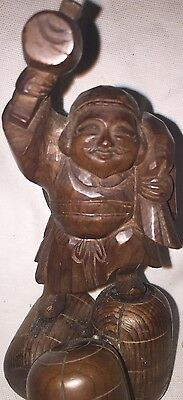 "5"" Old Wooden Japanese Hand Carved Figure Statue Man At Work Netsuke"