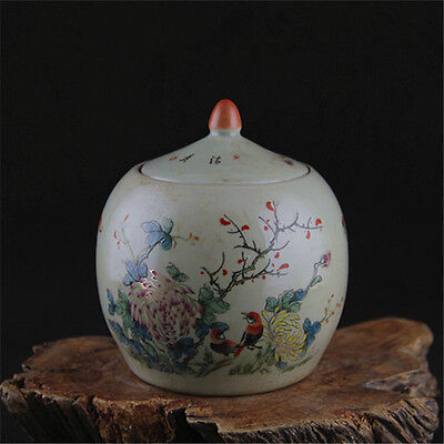 Chinese Asian Bird Floral Antique Porcelain Pot Decorated Old Jar with Lid #107
