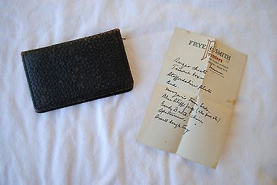 Antique Brown Leather Business Card Holder 1930s - 1940s Plus Note