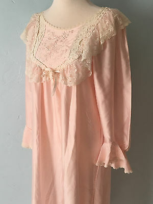 Vintage 1970s Christian Dior Lingerie Neiman Marcus Pink Lace Ladies Nightgown