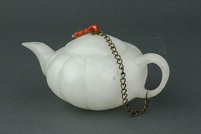 Chinese White Hardstone Carved Teapot
