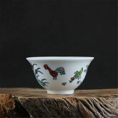 Chinese Asian Colorful Chicken Antique Porcelain Decorative Old Cup #108
