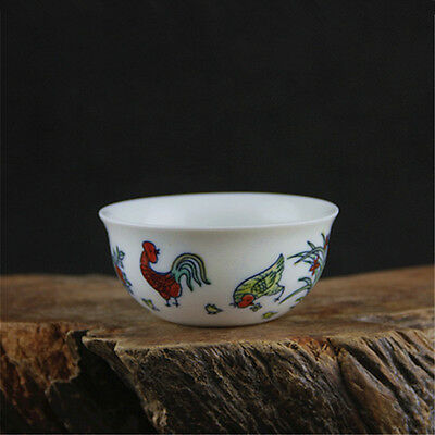 Chinese Asian Colorful Chicken Antique Porcelain Decorative Old Cup #109