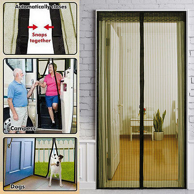 Mesh Magnetic Fly Bug Snap Screen Mosquito Door Curtain Hands Free Black/White U