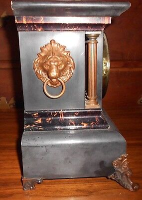 Seth Thomas Adamantine Celluloid 6 Column 8 Day Mantel Clock Lions 1881-1905