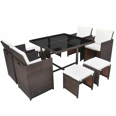 vidaXL 21 Piece Outdoor Dining Set Table/Chair/Stool/Cushion Brown Poly Rattan