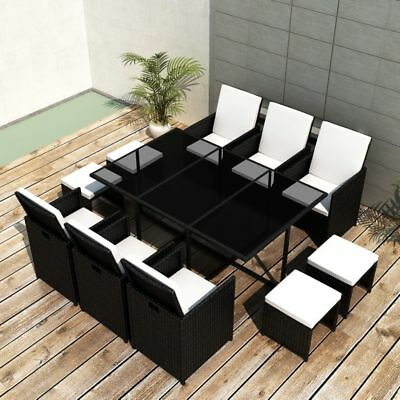 vidaXL 27 Piece Outdoor Dining Set Table/Chair/Stool/Cushion Black Poly Rattan
