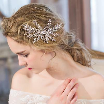 Bridal Wedding Crystal Leaves Hair Clip Headpieces Hair Accessories