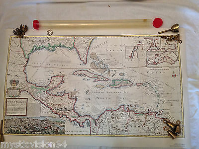 1715 West Indies Map Gulf Of Mexico Caribbean Herman Moll Historic Urban Plans