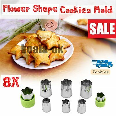 Stainless Steel Biscuit Stamp Mould 8 Piece Set Flower Shape Cookies Mold OA