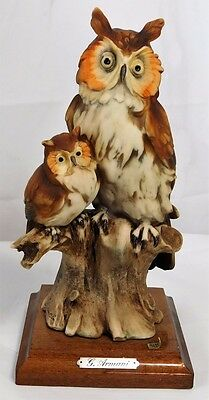 """Vtg G ARMANI Italy HAND-PAINTED PORCELAIN MOTHER & BABY OWL FIGURINE 7.75"""""""