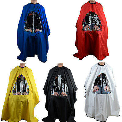 Pro Salon Barber Hair Cutting Gown Cape With Viewing Window Hairdresser Apron
