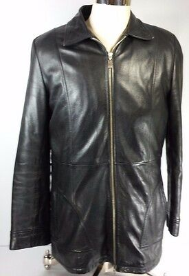 Wilson Men's Heavy Leather Motorcycle Bomber Jacket Lined Insulated EUC! Size L