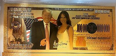 President Donald Trump Melania Trump 24k Gold Plated .999 Bank Note Money bill