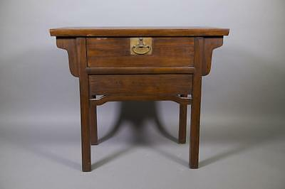 Chinese Elmwood Carved Altar Table with Drawer