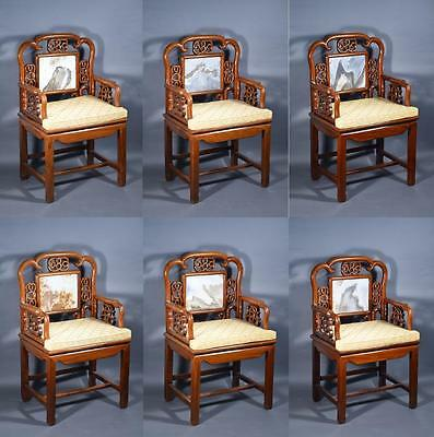 Set of 6 Qing Period Rosewood Chairs Inset Marble