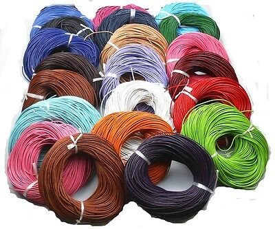 Hotsale! 5 Meter 2.0 mm Real Leather Rope String Cord Necklace Charms 26 Colors