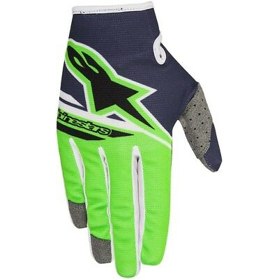 Alpinestars NEW Mx 2018 Radar Flight Navy Green Adults Motocross BMX MTB Gloves