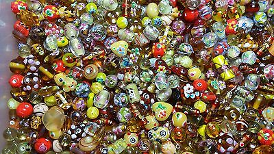 LAMPWORK Glass Bead Mix 50g Earth Tones Yellow Mix Jewellery Making