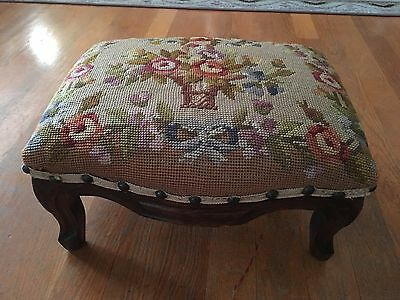 Tapestry Needlepoint 1900 Antique Carved French FootStool
