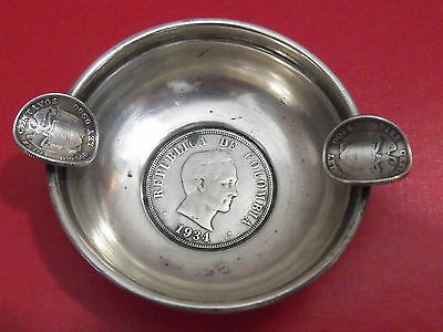 Antique Sterling Silver Colombian Colombia Ashtray ww2 1930th 1940th coin (Em)