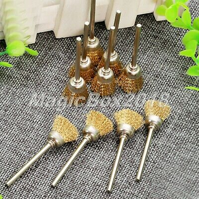 10pcs 3mm Shank Brass Wire Cup Brushes Wheel Set Dia 15mm for Power Rotary Tool