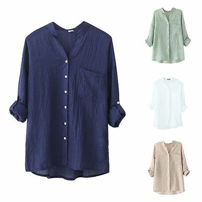 Women Loose Cotton Linen Blouse Long Sleeve Tops Casual Sheer Button Down Shirt