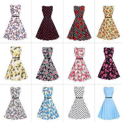 Womens 1950s 60s Vintage Floral Style Rockabilly Cocktail Party Swing Dresses UK