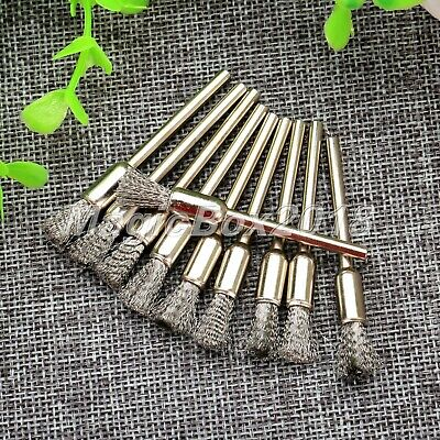 10Pcs 6mm Steel Wire Brushes Pen Shape Cleaning Polishing Metal Rotary Tool