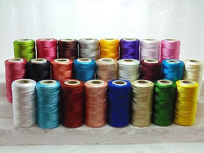 25 Large Indian Silk Shiny Embroidery Thread Basic 25 Different Color Spools NEW