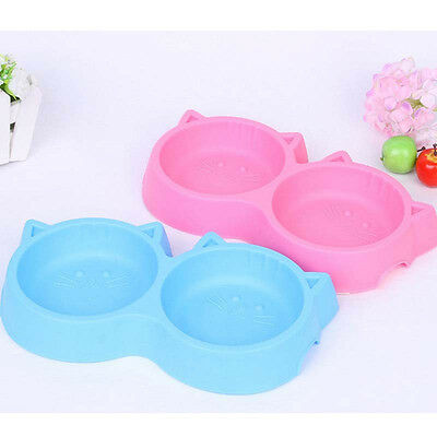 Pet Cat Face Shaped Double Bowl Dog Food Feeding Tool Plastic Puppy Non Toxic