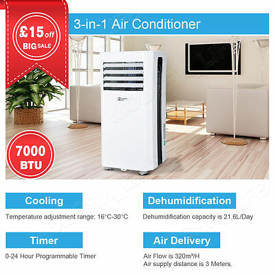 7000BTU/2.1KW 3-in-1 Portable Air Conditioner Unit Conditioning Clearance Sale
