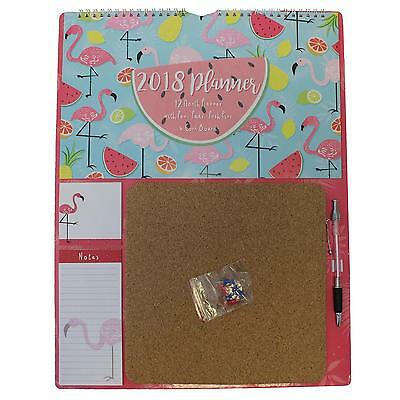 Flamingos - 2018 12 Month Planner Calendar, Cork Board, Pads & Pen