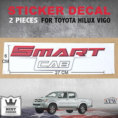 2 PCS V.1 SMART CAB Logo Sticker Decal Badge For Toyota Hilux Vigo Champ