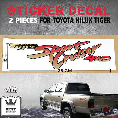 2PCS Sticker Decal Logo Badge For Toyota Hilux Tiger Sport Cruiser 02-04 D4D 4WD