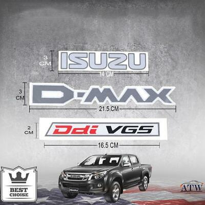 3PCS Logo Sticker Badge Decal Plate ISUZU D-MAX Ddi VGS Fit Isuzu Dmax