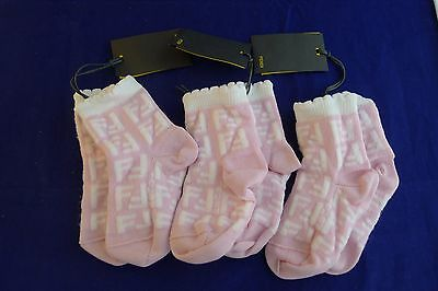New with tags Fendi 3 pairs baby girl pink socks size 0-3 months
