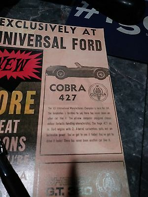 shelby ad cobra 427 mustang rare gt 350 photo carroll poster ford