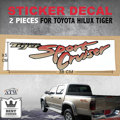 2PCS Sticker Decal Logo Badge For Toyota Hilux Tiger Sport Cruiser 02-04 D4D